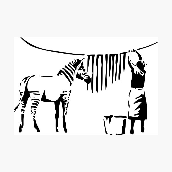 Banksy, A Woman Washing Zebra Stripes Reproduction d'œuvres d'art, Affiches, T-shirts, Impressions Impression photo