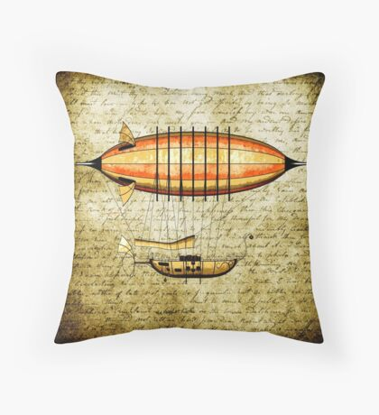 Elegant Vintage Steampunk Airship Throw Pillow