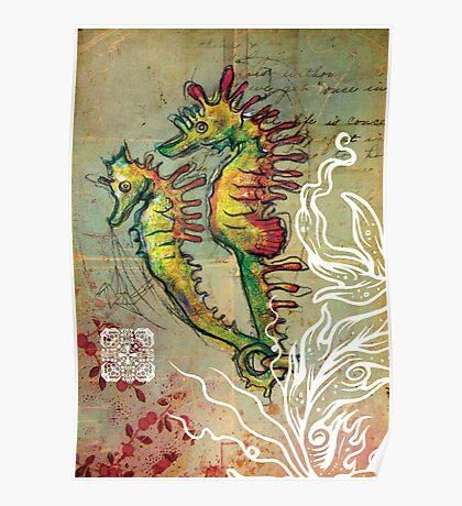 Seahorse Love - Mixed Media Poster