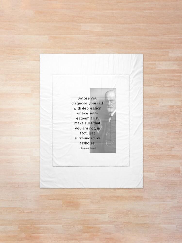 Alternate view of Sigmund Freud Quote Comforter