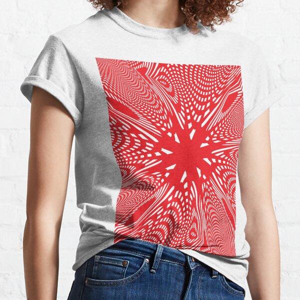 #abstract #design #illustration #pattern #futuristic #art #shape #creativity #modern #bright #vertical #vibrantcolor #red #colorimage #textured #backgrounds #geometricshape #inarow #imagination Classic T-Shirt