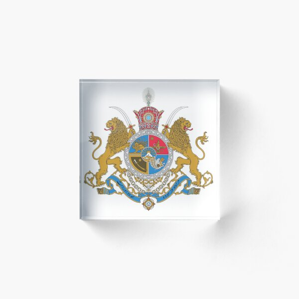 Imperial Coat of Arms of Iran under the Pahlavi Dynasty Acrylic Block