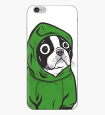 Boston Terrier Green Hoodie iPhone Case