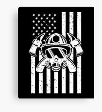 Firefighter Gift USA Flag Fireman Fire Department Gift Canvas Print