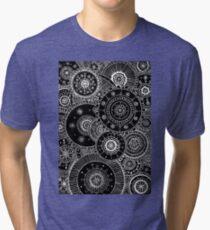 Lacy White Mandalas on Black Tri-blend T-Shirt