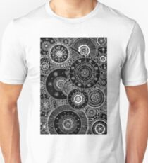 Lacy White Mandalas on Black Unisex T-Shirt