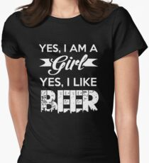 I Am A girl I Like Beer Women's Fitted T-Shirt
