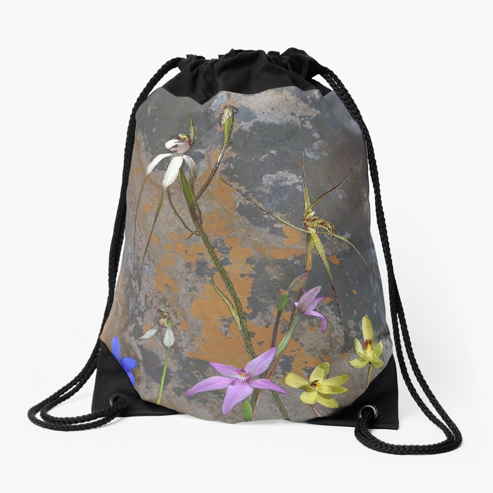 Meelup Orchids with Rock Drawstring Bag