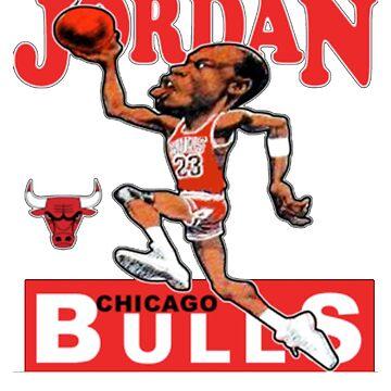 Michael Jordan Retro Basketball Cartoon Worn T Shirt by NorthAmericaTs