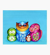Owl Family Portrait Photographic Print