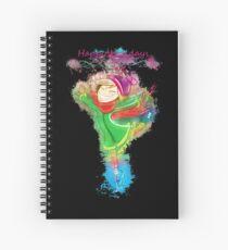 Girl skating glowing Art Spiral Notebook