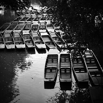 Boats on water in black and white by franceslewis