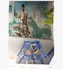 Waterpipe And Blue Chairs Poster