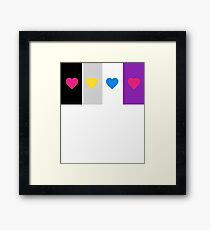 Panromantic Hearts Asexual Flag Stripes Asexual T-Shirt Framed Print