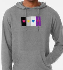 Panromantic Hearts Asexual Flag Stripes Asexual T-Shirt Lightweight Hoodie