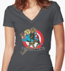 Freedom Pair Women's Fitted V-Neck T-Shirt