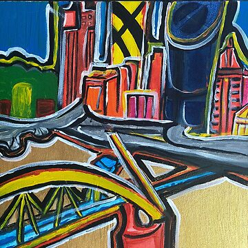 Brisbane City - A Colourful Painting by annaleebeer