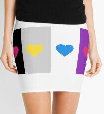 Panromantic Hearts Asexual Flag Stripes Asexual T-Shirt Mini Skirt