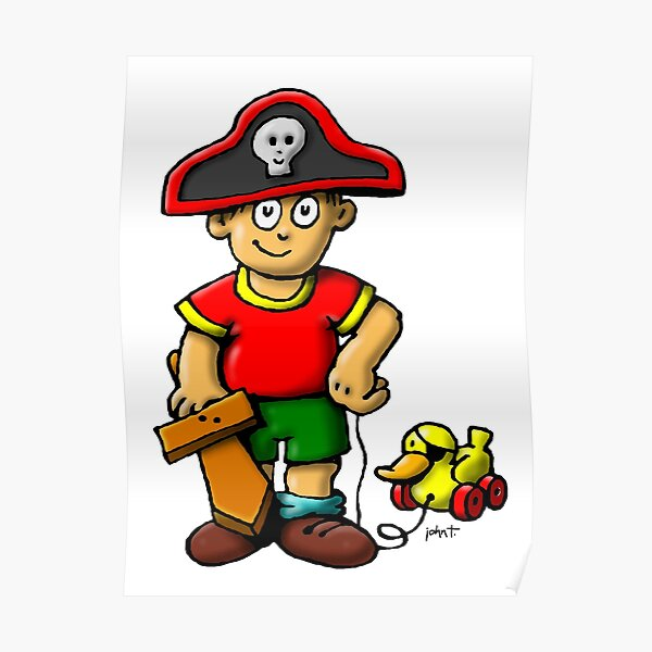 Pirate Boy & Duck Poster