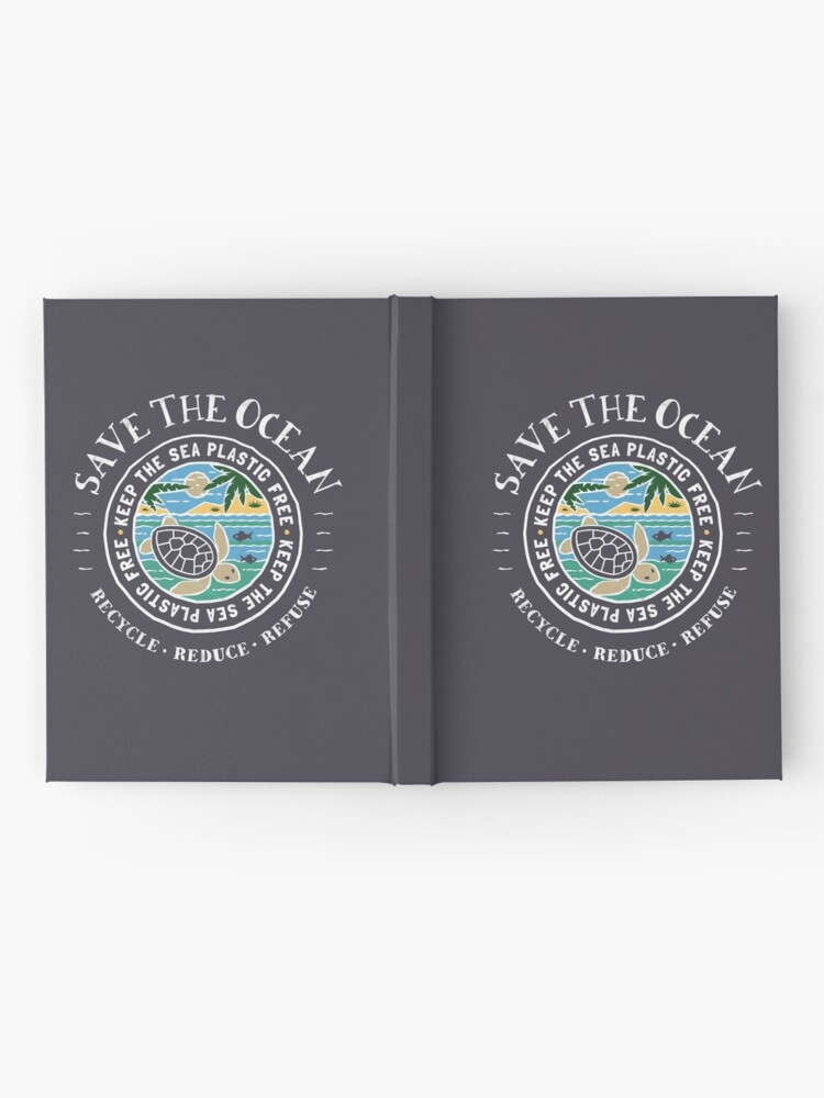 Alternate view of Save The Ocean Keep the Sea Plastic Free Turtle Scene Hardcover Journal