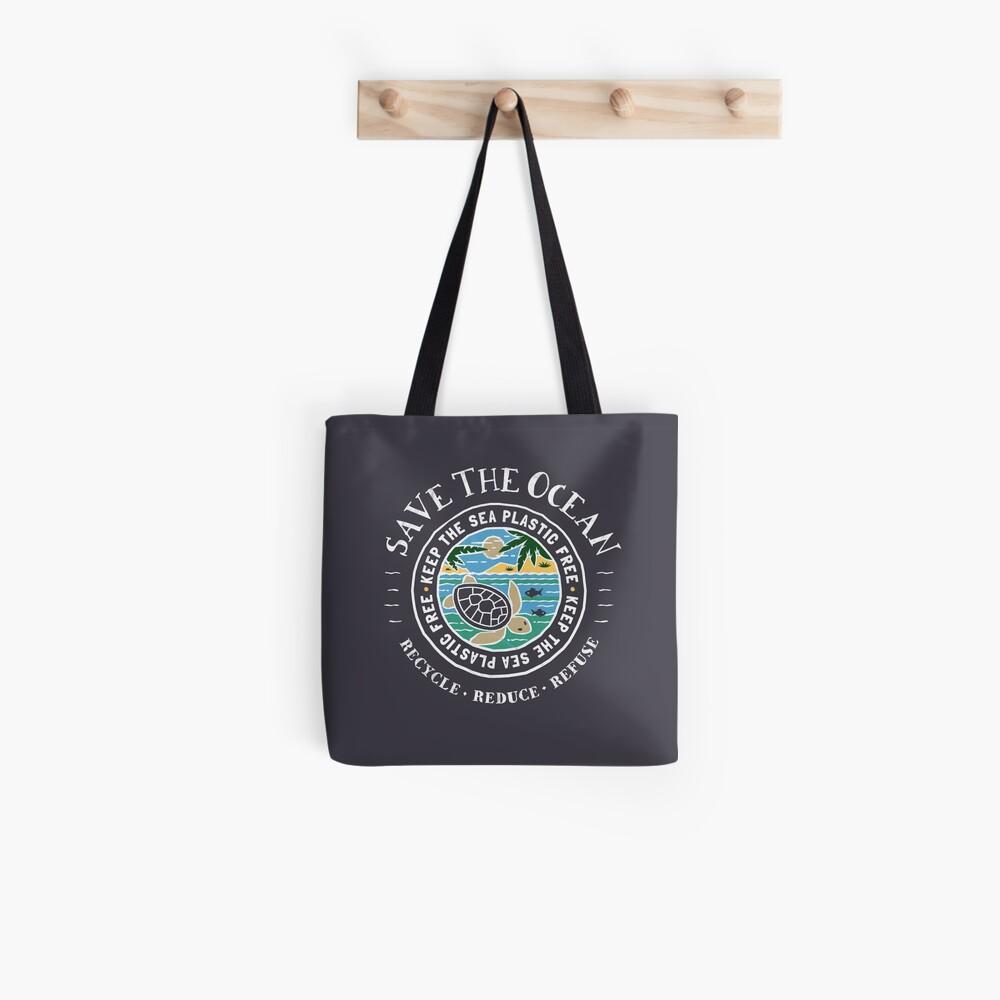 Save The Ocean Keep the Sea Plastic Free Turtle Scene Tote Bag