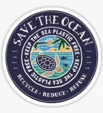 Retten Sie den Ozean Halten Sie das Meer Plastikschildkröten-Szene frei Sticker