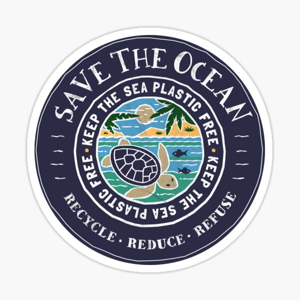 Save The Ocean Keep the Sea Plastic Free Turtle Scene Sticker