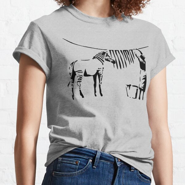 Banksy, A Woman Washing Zebra Stripes Artwork Reproduction, Posters, Tshirts, Prints Classic T-Shirt