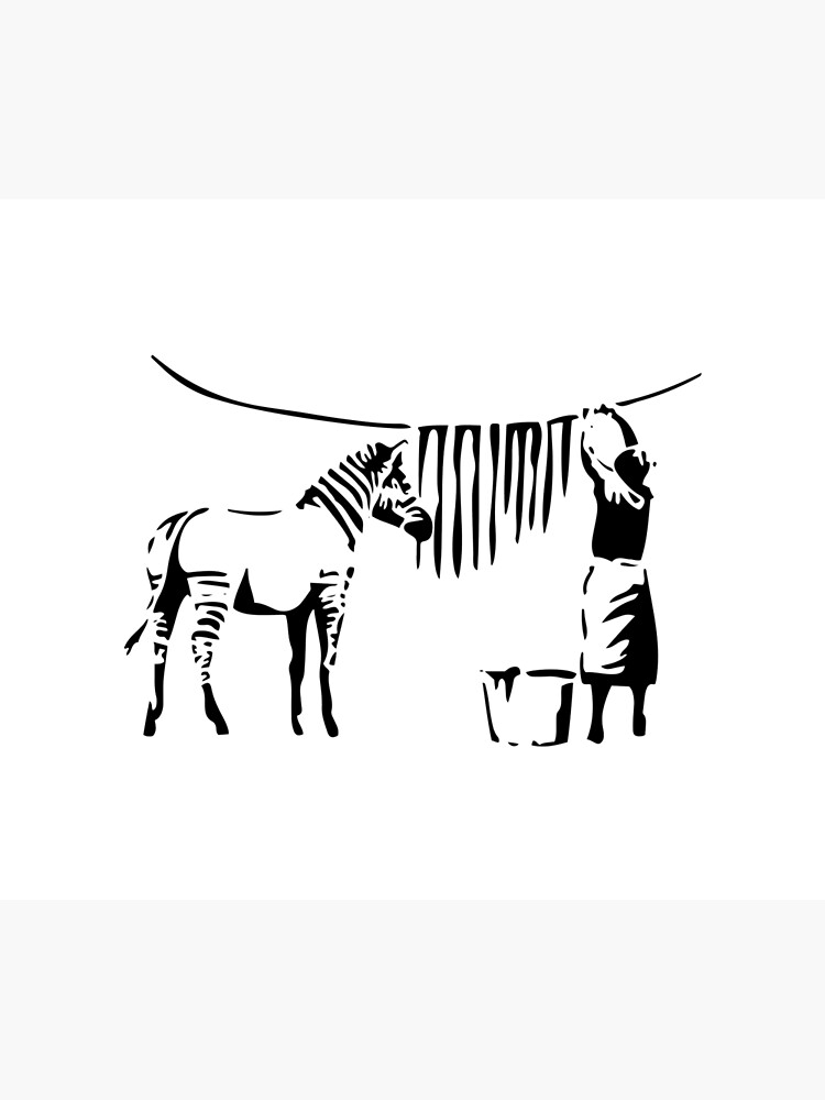 Banksy, A Woman Washing Zebra Stripes Artwork Reproduction, Posters, Tshirts, Prints by clothorama