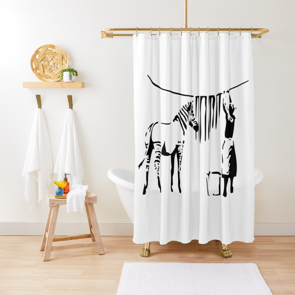 Banksy, A Woman Washing Zebra Stripes Artwork Reproduction, Posters, Tshirts, Prints Shower Curtain