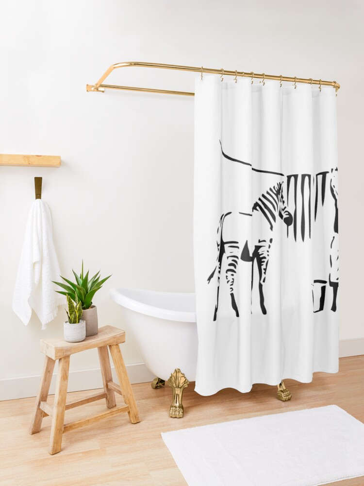 Alternate view of Banksy, A Woman Washing Zebra Stripes Artwork Reproduction, Posters, Tshirts, Prints Shower Curtain
