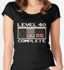 Level 40 Complete Video Gamer 40th Birthday Gift Fitted Scoop T-Shirt