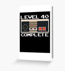 Level 40 Komplette Video Gamer 40. Geburtstagsgeschenk Grußkarte