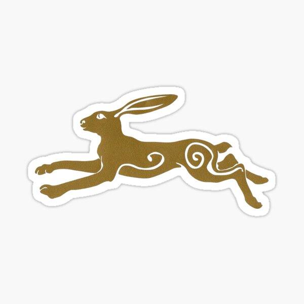 Golden Jumping Celtic Pagan Hare Sticker