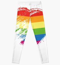 Grungy I Love LGBT Heart Flag Leggings