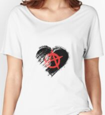 Grungy I Love Anarchy Heart Flag Women's Relaxed Fit T-Shirt