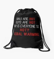 Global warming joke Drawstring Bag
