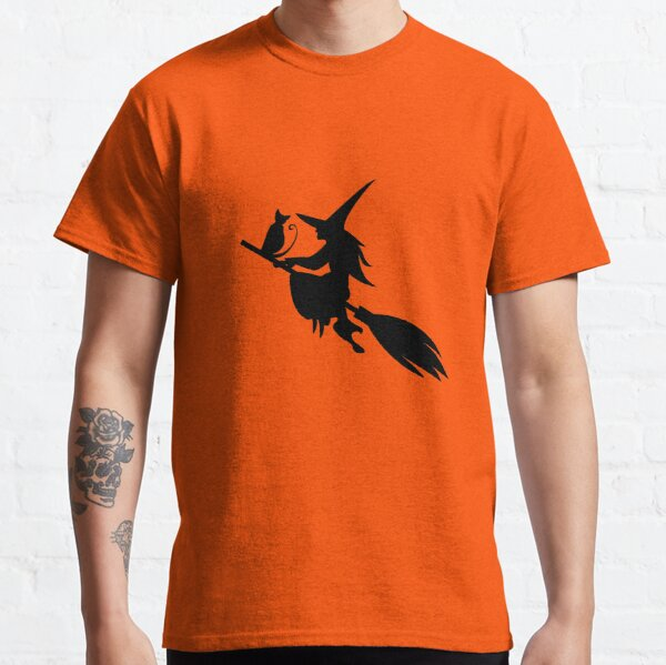 Silhouette of the witch cat flying on the broom Classic T-Shirt
