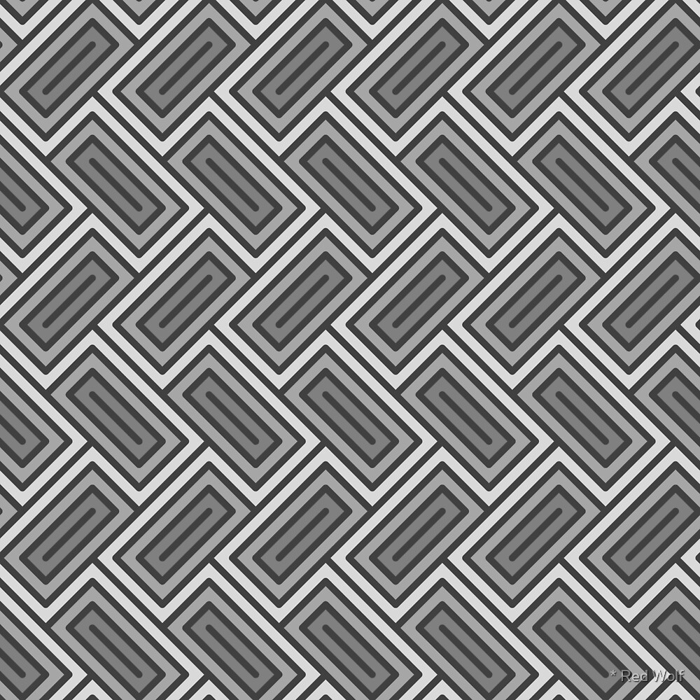 Geometric Pattern: Falling Rectangle: Grey by * Red Wolf
