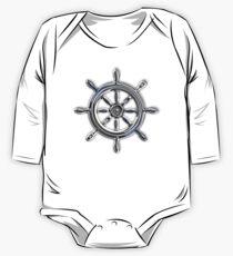 Chrome Style Nautical Wheel Applique One Piece - Long Sleeve