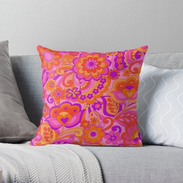 Flower Power. 60's inspired happy design Throw Pillow