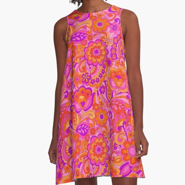 Flower Power. 60's inspired happy design A-Line Dress