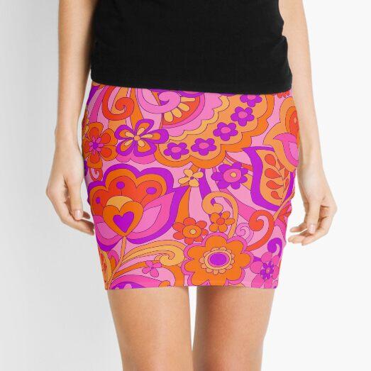 Flower Power. 60's inspired happy design Mini Skirt