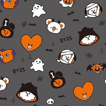 BT21 Halloween Pattern - Black version by ZeroKara