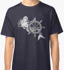 Chrome Style Nautical Mermaid Applique Classic T-Shirt