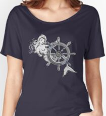 Chrome Style Nautical Mermaid Applique Women's Relaxed Fit T-Shirt