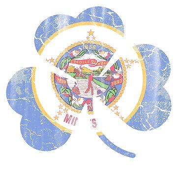Vintage Irish Flag of Minnesota Shamrock by stpatricksday
