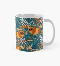 Happy Boho Sloth Floral  Mug