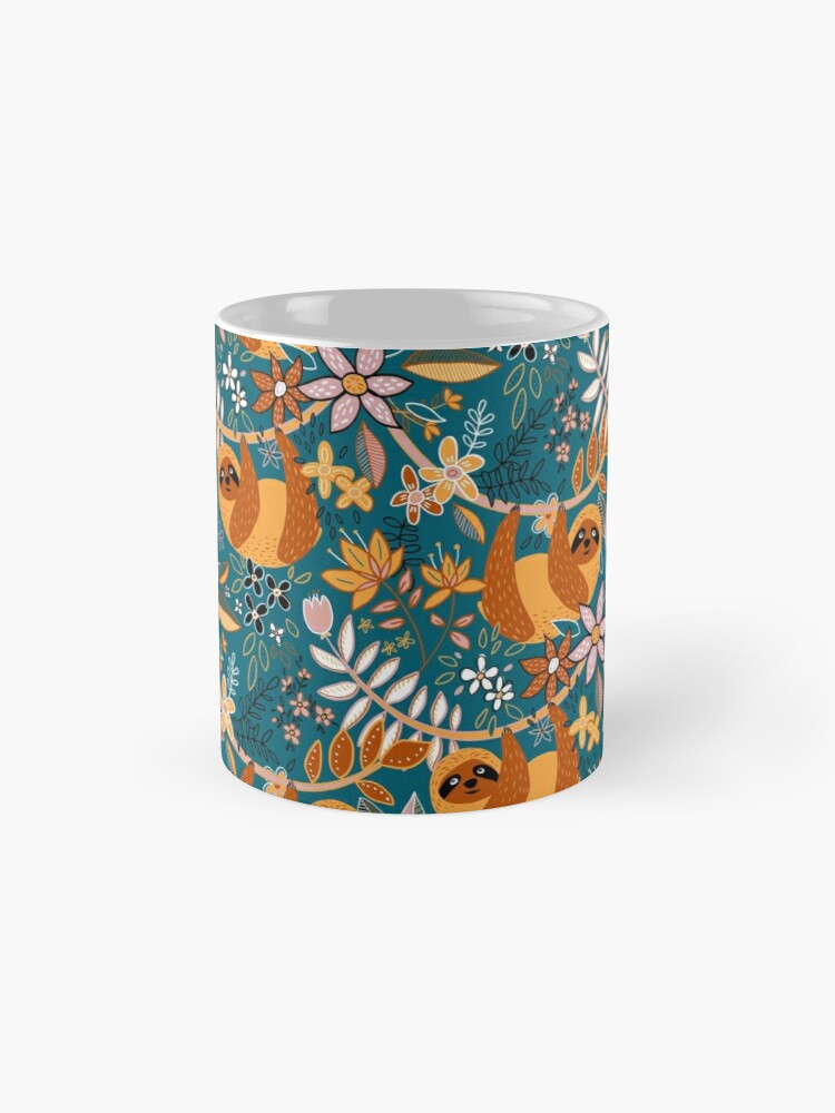 Alternate view of Happy Boho Sloth Floral  Mug