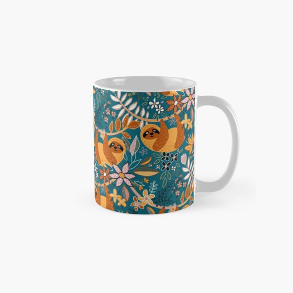 Happy Boho Sloth Floral  Classic Mug